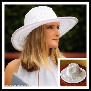 Accessories - WHITE WOVEN PANAMA FEDORA WIDE BRIM SUN HAT